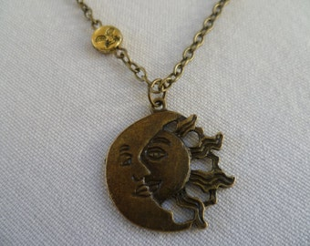 Sun and moon necklace,moon and sun jewellery,pagan,gift,moon necklace,charm necklace,sun pendant,wiccan jewelry,sun jewelry,bronze sun moon