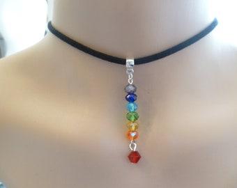 chakra choker,buddhist jewelry,black choker,choker necklace,gift,chakra jewelry,handmade,7 chakra,spiritual jewellery, beaded chakra ,zen,