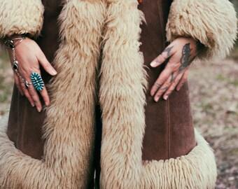 Vintage 1970's hooded sheepskin shearling coat. Penny Lane Lamb Fur Hippie Folklore Bohemian Trophy Coat.