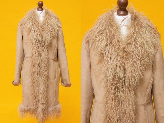 Beautiful vintage 1970/'s style faux suede /& mongoliantibetan fur Penny Lane jacket