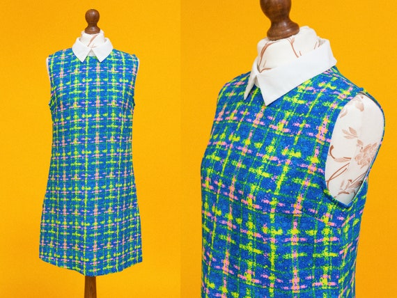 One of a kind 1960s multicolor dress. Groovy psych