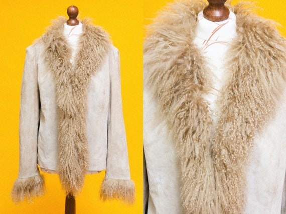 Beautiful vintage 1970's style suede leather & mon