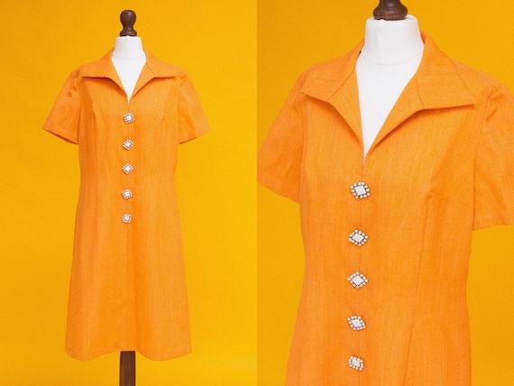 Cutest psych mod vintage 70s orange dress