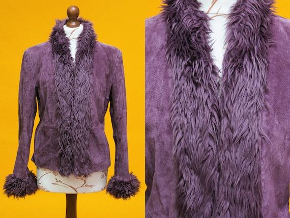 Beautiful 60s 70s purple suede leather & faux fur