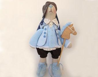"""Rabbit Ryan Fabric animal soft toy OOAK doll art Birthday gift for boy toy big Cloth doll Home decor Room blue Stuffed bunny doll 18"""" 46cm"""
