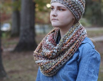 Multicolored Chunky Crochet Wool Infinity Scarf // Chunky Crochet Circle Scarf (Scarf Only)