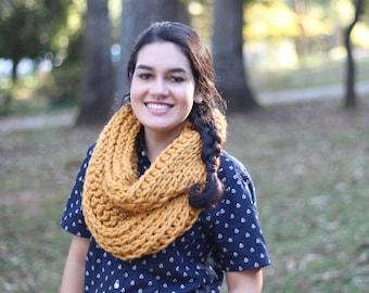 Chunky Wool Yellow Gold Crochet Infinity Scarf // Chunky Crochet Infinity Scarf (Scarf Only)