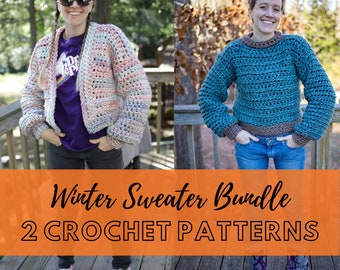 Beginner Crochet Sweater Pattern BUNDLE   Two Patterns included: The Weasley Pullover Sweater & The Luna Cardigan