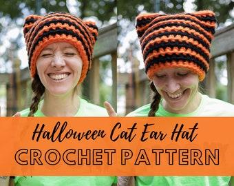 Halloween Cat Ear Hat Crochet Pattern   Cat Themed Halloween Costume Beanie   DIY Simple Beginner friendly Crochet Pattern