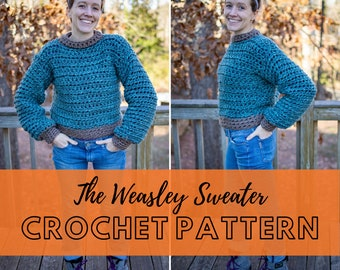 Simple Chunky Crochet Fall Sweater Pattern   Beginner Friendly Pullover Jumper Pattern   Downloadable PDF   The WeasleySweater