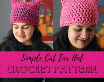 Simple Pussy Hat Crochet Pattern // Beginner Cat Ear Hat Crochet Pattern // Women's March Pussy Hat Crochet Pattern