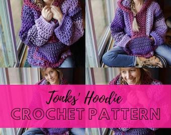 Simple Chunky Crochet Hoodie Pattern   Beginner Friendly Crochet Hippie Hoody Pullover   Hooded Sweater Crochet Pattern   The Tonks Hoodie