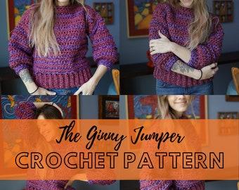 Simple Chunky Crochet Sweater Pattern   Beginner Friendly Crochet Jumper Pattern   Downloadable PDF   The Ginny Jumper