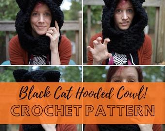 Jumbo Cat Ear Hooded Cowl Crochet Pattern   Cat Themed Halloween Costume Scarf   DIY PDF Crochet Pattern Instant Download