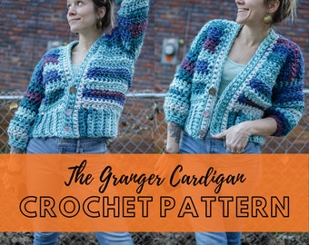 Simple Chunky Crochet Cardigan Pattern   Beginner Friendly Size-Inclusive Spring Sweater Pattern   Downloadable PDF   The Granger Cardigan