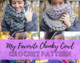 Easy Chunky Cowl Scarf Crochet Pattern   Simple Oversized Cowl Pattern   Beginner Friendly PDF Pattern   My Favorite Chunky Cowl
