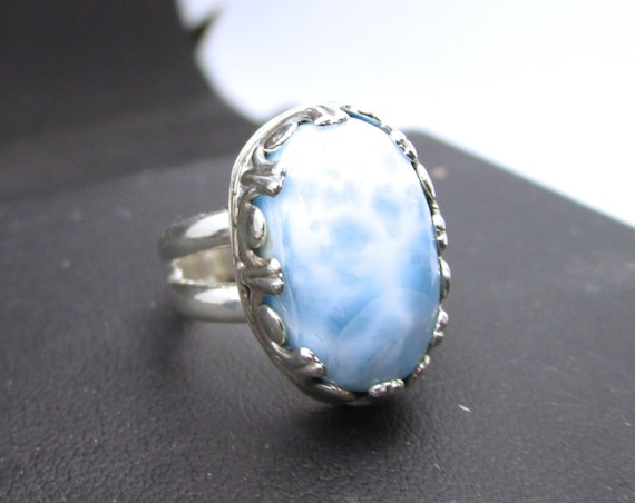 BG-033 925 Silver ring, (sterling) with large larimar - free shipping