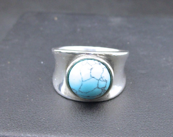 BG-032 925 Silver ring, (sterling) and fine silver with a standard turquoise stone