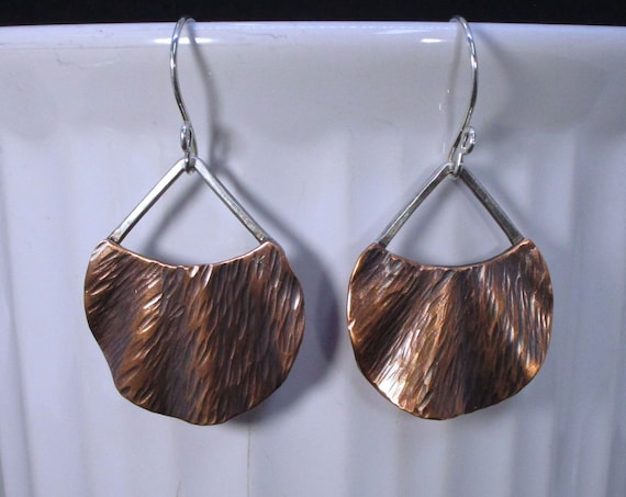 Bo - 126 earring in 925 Silver (sterling) and copper, free shipping / Free Shipping