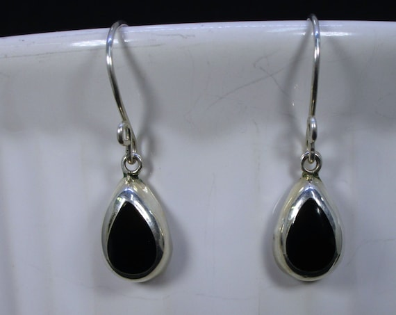BO-150 earring Silver 925 and onyx black free shipping