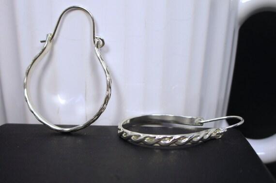 BO-165 shape 925 Silver - free hoop earring
