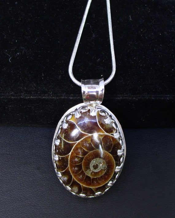 Crystallized C-123 silver necklace with ammonite fossil charm on silver free shipping / Free Shipping