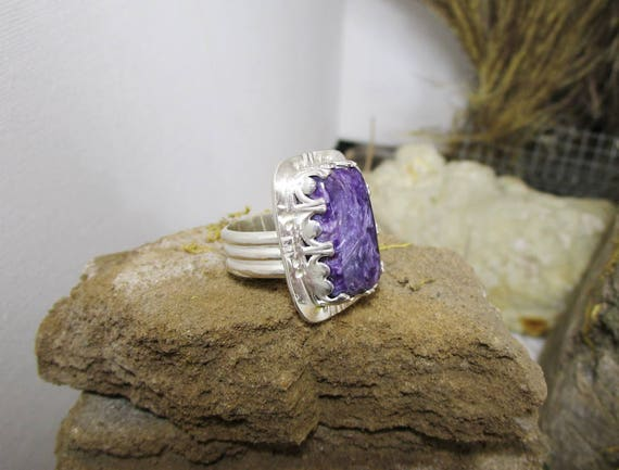 BG-031 925 Silver ring, (sterling) with large royal purple charoite - free shipping