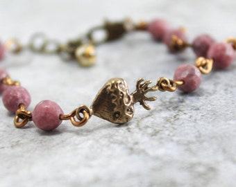 Sacred Heart of Jesus Catholic Bracelet for Women - Catholic Jewelry Gift - Bronze Religious Medal - Rhodonite Gemstone Beads - Confirmation