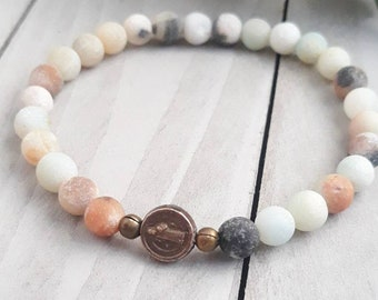 St. Benedict Stretch Bracelet - Solid Bronze Amazonite Gemstone Catholic Jewelry for Women - Religious Medal - Confirmation Gift for Girls