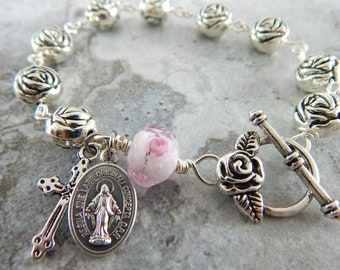 Catholic Rosary Bracelet Single Decade Rosary Beads - Miraculous Medal OR St. Therese - Confirmation gift for Her Catholic Jewelry for Women