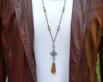 St Benedict Cross Necklace - Leather Tassel Necklace - Christian Jewelry Catholic Necklace  Confirmation Gift Boho Necklace Religous Jewelry