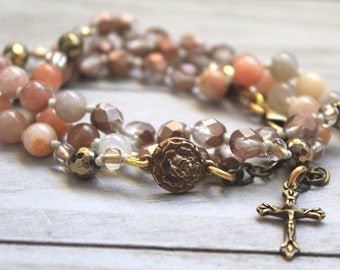 St Therese Catholic Rosary Bracelet for Women - 5 decade Rosary Wrap - Rose Bronze Medal - Religious Jewelry - Confirmation Gift - Sunstone