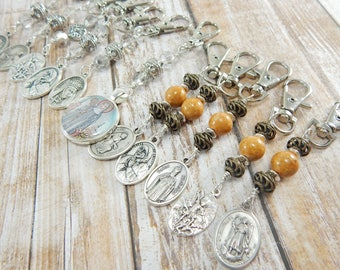 Catholic Saint Key Chain - Religious Medals - Confirmation Gift for Boys or Girls - Zipper Pull - Bag Accessory