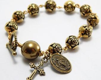 Catholic Rosary Bracelet for Women - Vintage Rose Rosary beads - Catholic Gift for Her - Virgin Mary Bracelet - Confirmation First Communion