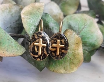 Gold Cross Dangle Earrings -  Christian Earrings - First Holy Communion - Confirmation Gift - Baptism Gift - Catholic Gift for Women