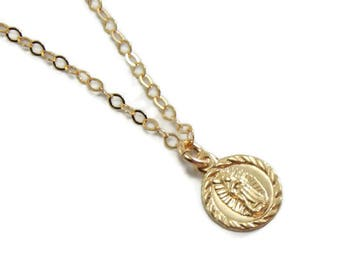 Our Lady of Guadalupe Virgin Mary Necklace - Catholic Jewelry for Women - 14k Gold Filled or Sterling Silver Chain - First Holy Communion