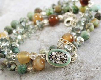 Our Lady of Guadalupe Catholic Rosary Wrap Bracelet Silver - 5 decade Rosary Beads for Women - Religious Confirmation Gift - Hand knotted