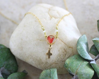 To Jesus Through Mary Pressed Flower Catholic Necklace - Rose Petal Cross Charm - Catholic Gift for Women - 14k Gold Filled Necklace Jewelry