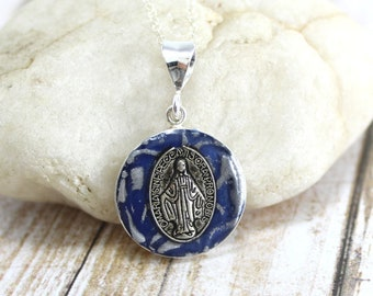 Miraculous Medal Sterling Silver Necklace - Catholic Jewelry Gift for Women - Confirmation Gift for her - Blessed Virgin Mary