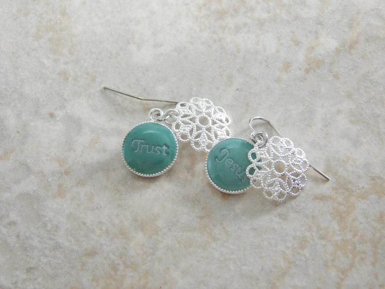 Christian Earrings  Hidden Message Silver Earrings  image 5