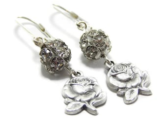 Miraculous Medal Earrings - Silver Rose Earrings - Catholic Earrings - Catholic jewelry - Christian Gift for Her - Religious Jewelry Gift