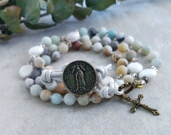 Our Lady of Guadalupe Catholic Rosary Bracelet - Boho Leather Wrap - 5 Decade Rosary Beads Gemstone - Religious Gift for Women Confirmation