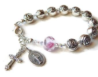 Catholic Rosary Bracelet for Women - Single Decade Rose Rosary Beads - Virgin Mary Miraculous Medal - Confirmation Gift - Catholic Sacrament