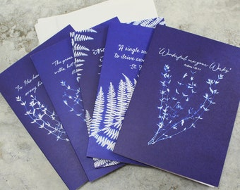 Christian Greeting Cards Set of 5 - Encouragement Card -  Inspirational Card - Bible Quote Card - Cyanotype Prints - Catholic card - Blue