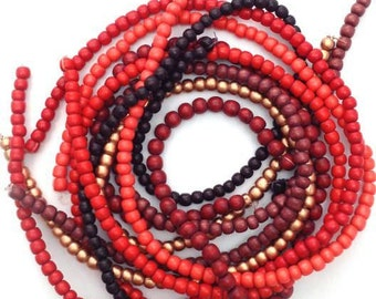 Beaded mix red, 5-6 mm, 7 strands, wooden beads, beads, wooden beads, beads mix round, Pukalite