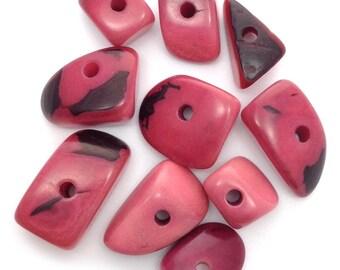 Tagua Dreiecke, mittel, rosa, 15mm, 10 Stück, Tagu