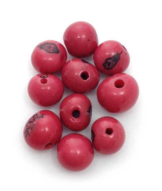 Azaiperlen rosa 5mm 10 Stück Samenperlen Azai Perlen rund