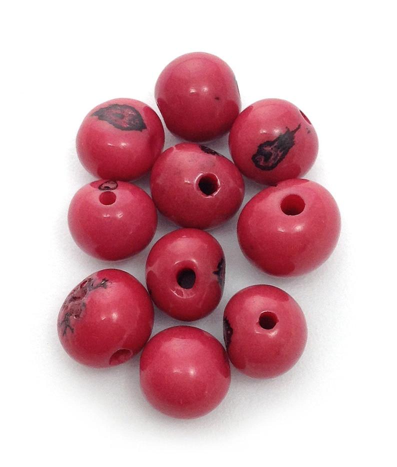 seed beads acai beads Azai beads hot pink acai beads pink fuchsia 10 pieces seed beads acai seed 5 mm seeds natural pearls