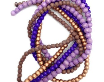 4 strands of wood beads purple, 5-6 mm, Pukalite, 352 pieces, beads, wooden beads, beaded mix, round mix copper, wood, beads mix