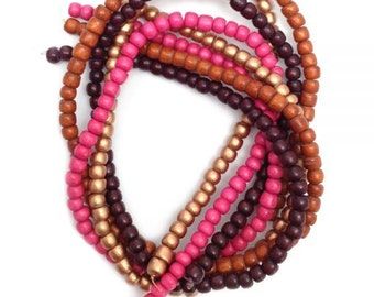 Beaded mix Berry, Brown, copper, 4 strands, 5 m